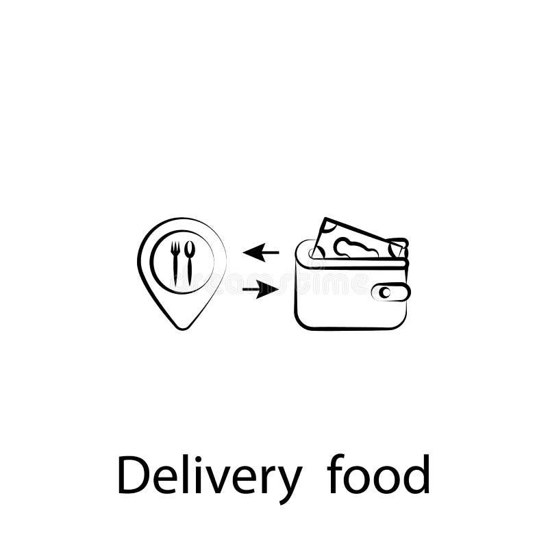 Het overzichtspictogram van de snel voedsellevering r De tekens en de symbolen kunnen voor Web, embleem, mobiele toepassing, UI w vector illustratie