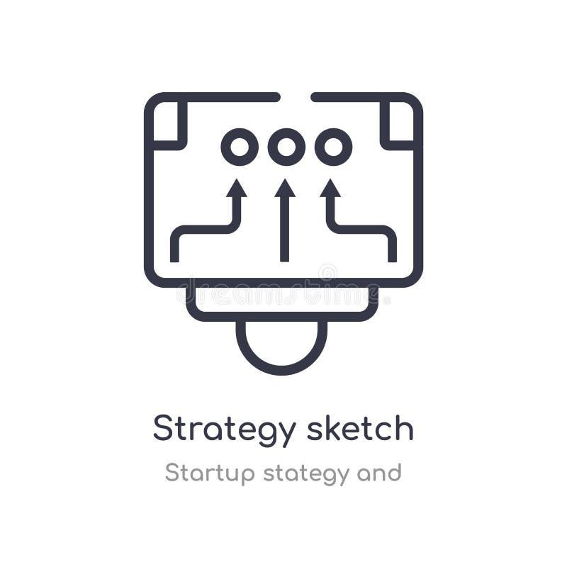 het overzichtspictogram van de strategieschets ge?soleerde lijn vectorillustratie van stategy opstarten en inzameling editable du vector illustratie
