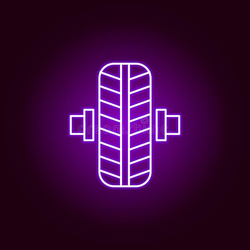 het overzichtspictogram van de wiel in evenwicht brengend auto in neonstijl Elementen van de illustratie van de autoreparatie in  stock illustratie