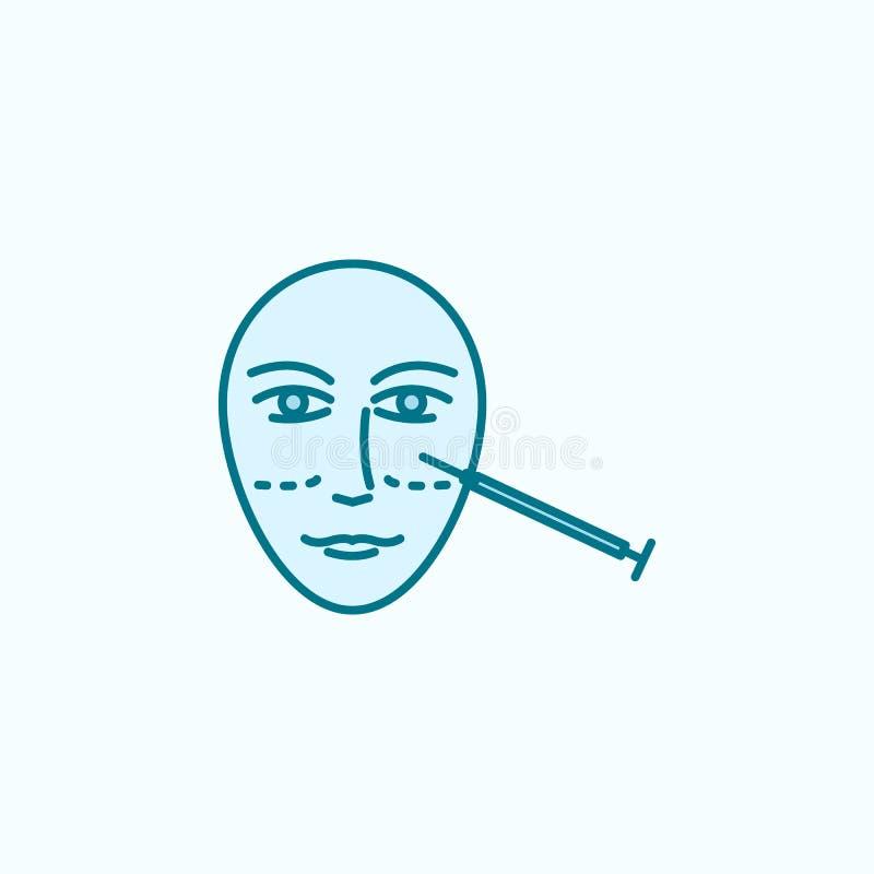 Het overzichtspictogram van het gezichts antiaging gebied vector illustratie
