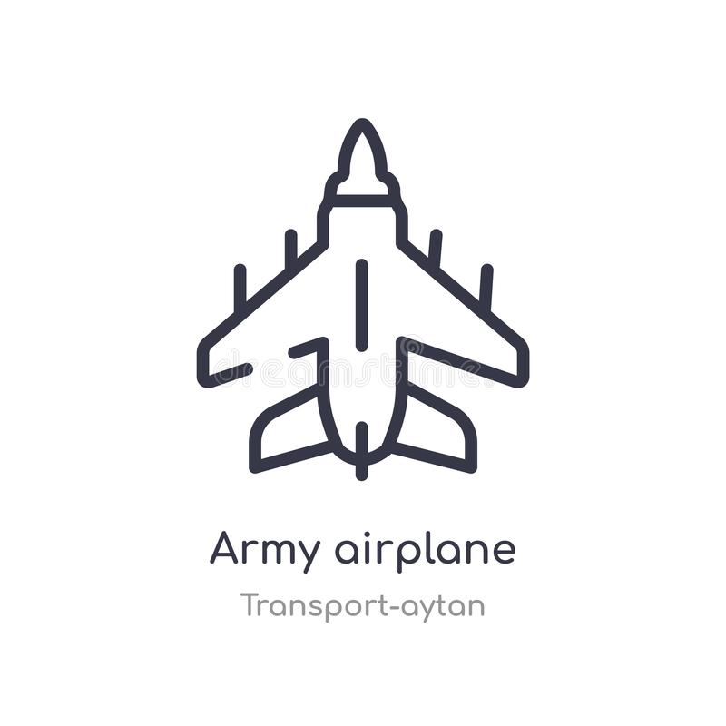 het overzichtspictogram van het legervliegtuig E het editable dunne vliegtuig van het slagleger royalty-vrije illustratie