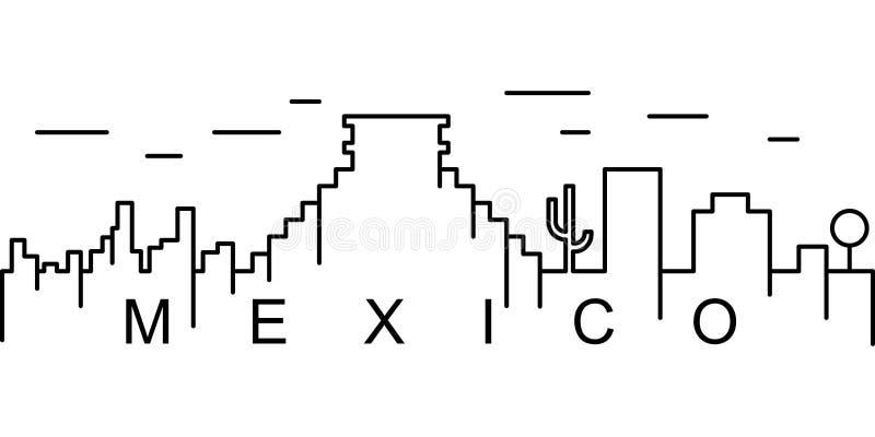 Het overzichtspictogram van Mexico Kan voor Web, embleem, mobiele toepassing, UI, UX worden gebruikt stock illustratie