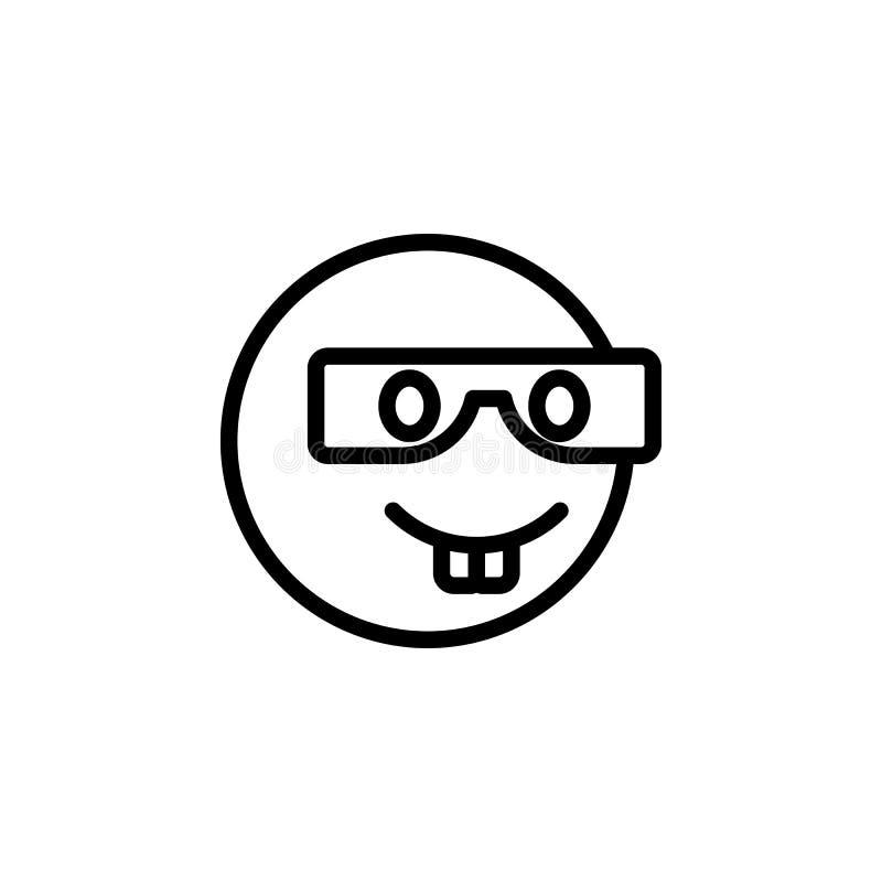 Het overzichtspictogram van Nerdemoji De tekens en de symbolen kunnen voor Web, embleem, mobiele toepassing, UI, UX worden gebrui stock illustratie