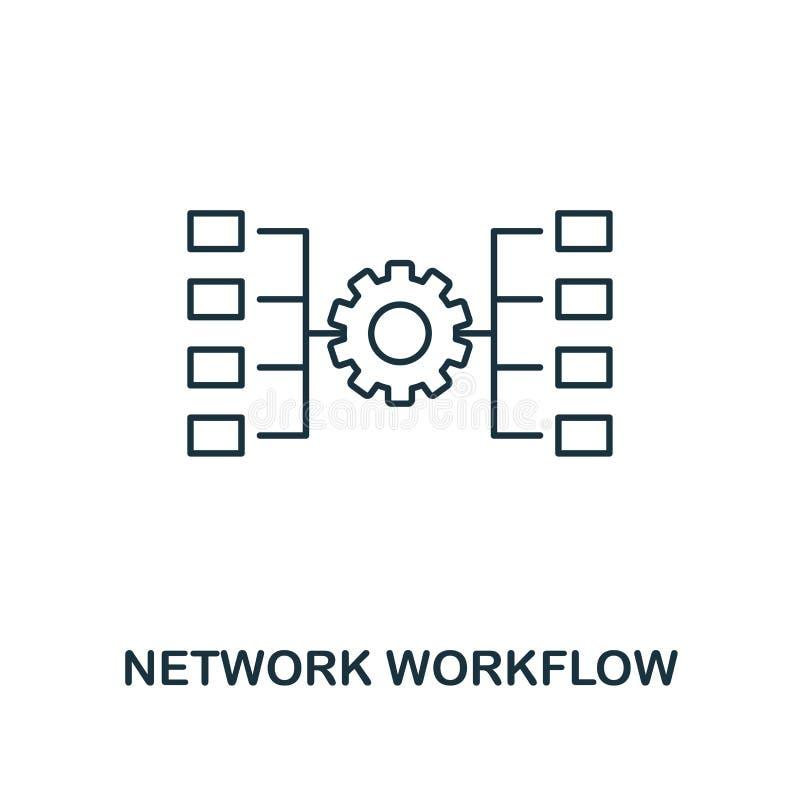Het overzichtspictogram van het netwerkwerkschema Dunne lijnstijl van de grote inzameling van gegevenspictogrammen Netwerk van he royalty-vrije illustratie