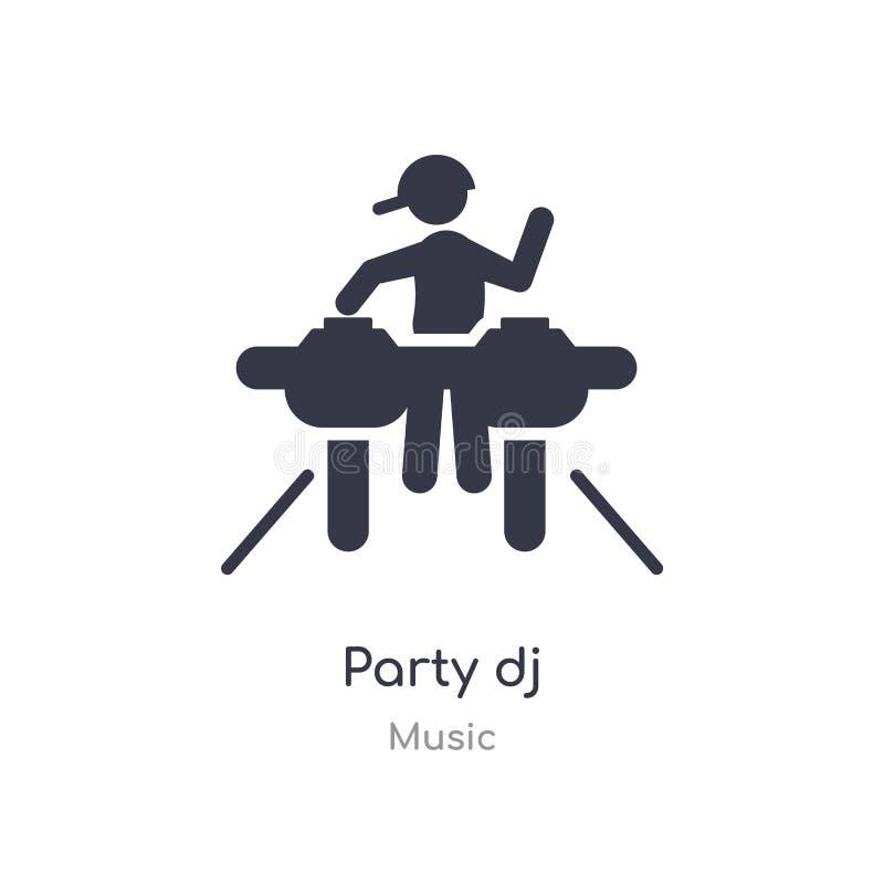 het overzichtspictogram van partijdj ge?soleerde lijn vectorillustratie van muziekinzameling het editable dunne pictogram van DJ  vector illustratie