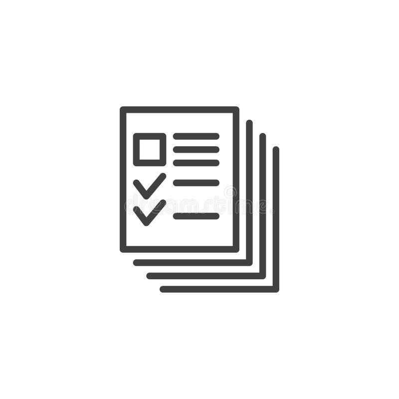 Het overzichtspictogram van profielendocumenten stock illustratie