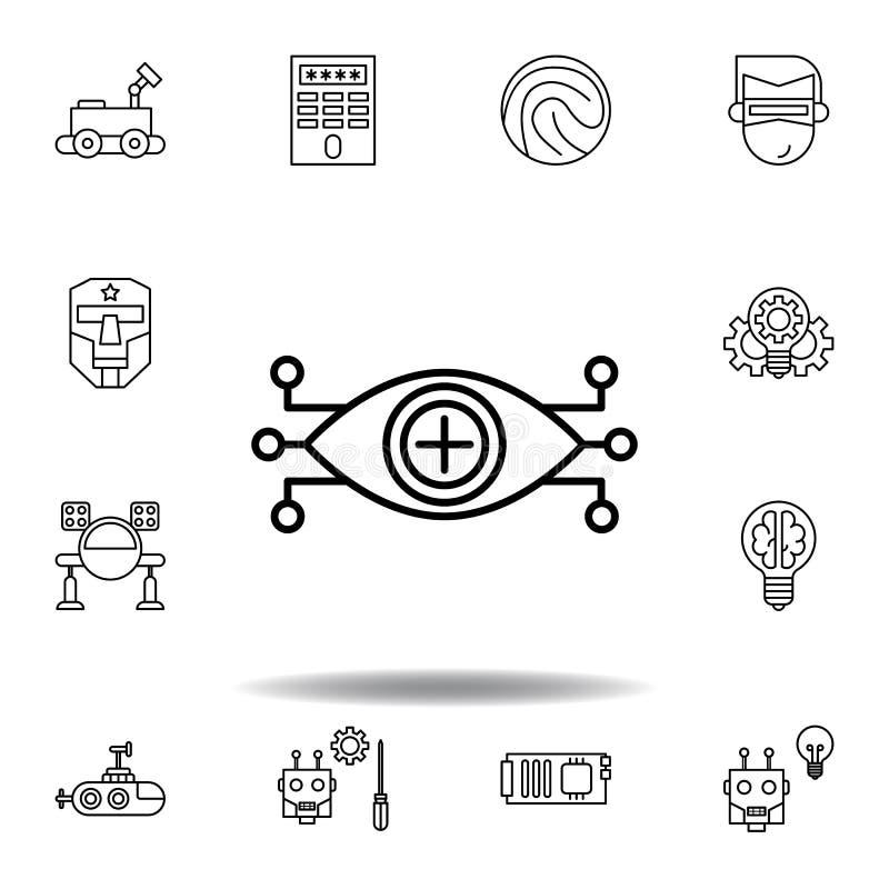 Het overzichtspictogram van het roboticaoog reeks pictogrammen van de roboticaillustratie de tekens, symbolen kunnen voor Web, em royalty-vrije illustratie