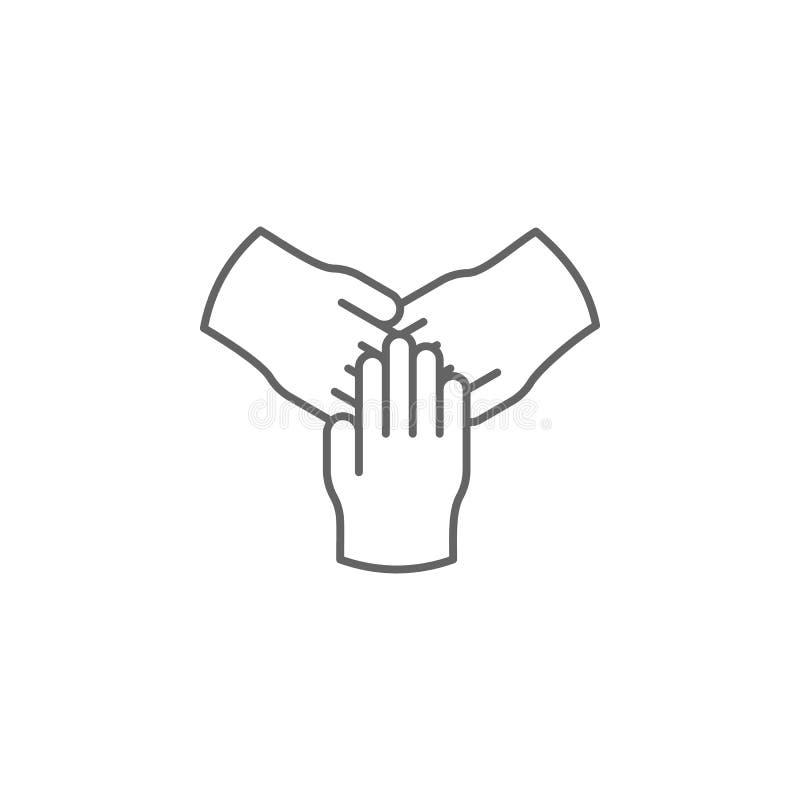 het overzichtspictogram van samenwerkingshanden Elementen van het pictogram van de vriendschapslijn De tekens, de symbolen en de  vector illustratie
