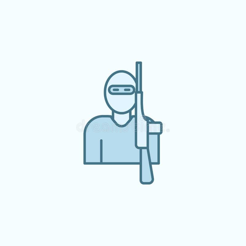 het overzichtspictogram van het terroristengebied Element van misdaadpictogram vector illustratie