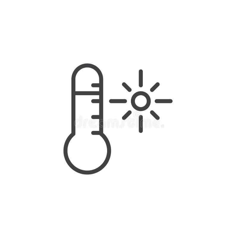 Het overzichtspictogram van het thermometer zonnig weer stock illustratie