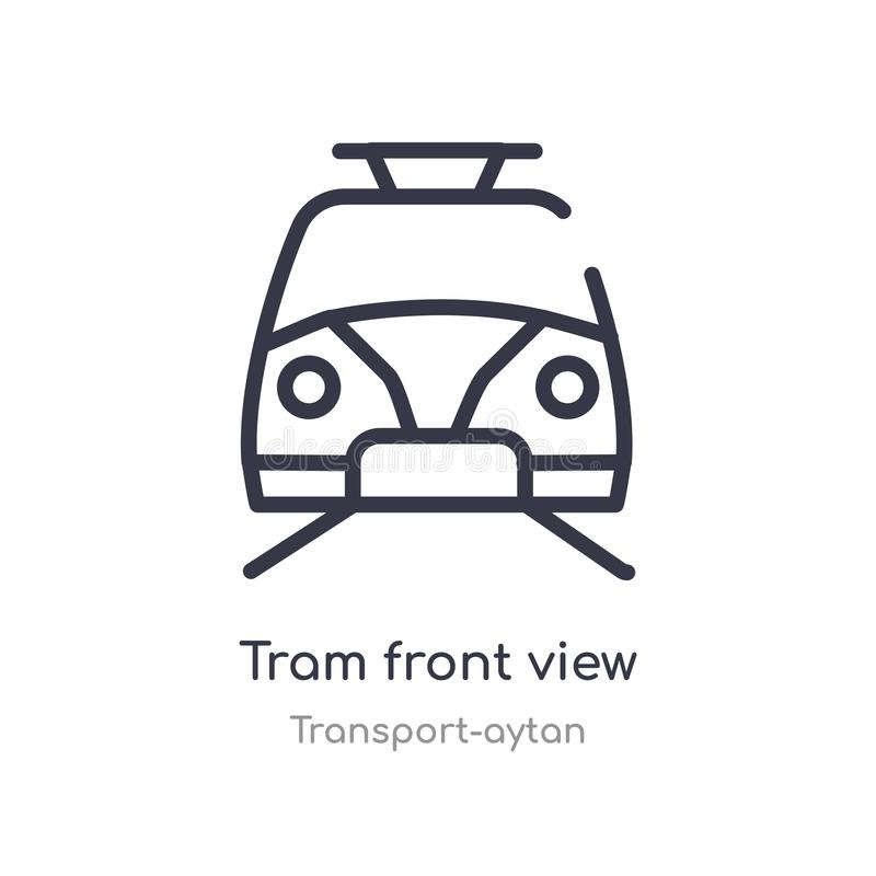 het overzichtspictogram van het tram vooraanzicht E de editable dunne voorzijde van de slagtram vector illustratie