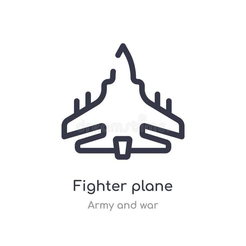 het overzichtspictogram van het vechtersvliegtuig ge?soleerde lijn vectorillustratie van leger en oorlogsinzameling het editable  vector illustratie