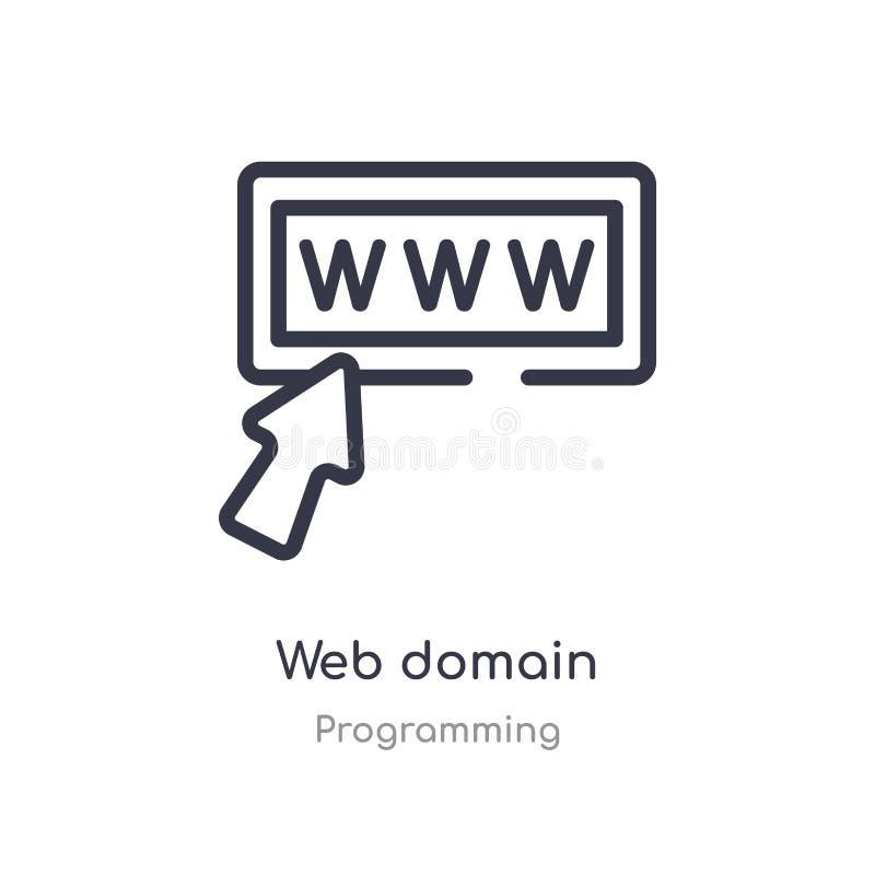 het overzichtspictogram van het Webdomein ge?soleerde lijn vectorillustratie van de programmering van inzameling editable dun het royalty-vrije illustratie