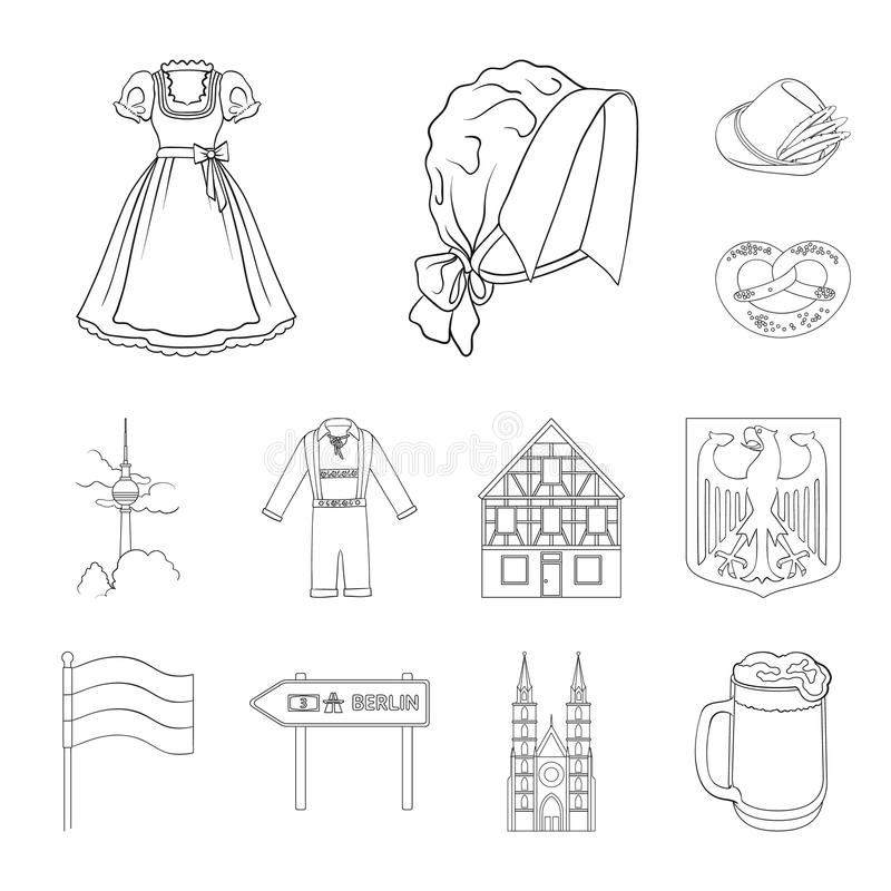 Het overzichtspictogrammen van Duitsland van het land in vastgestelde inzameling voor ontwerp Van de het symboolvoorraad van Duit vector illustratie