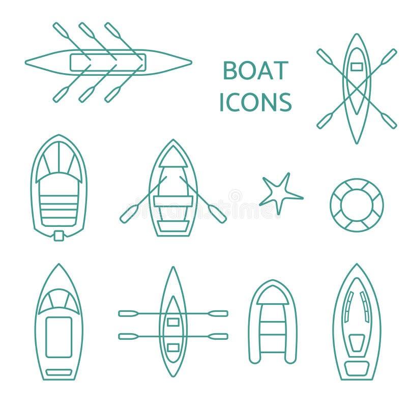 Het overzichtsreeks van bootpictogrammen stock illustratie