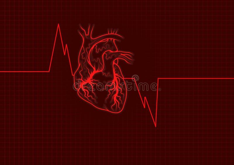 Het overzichtsrood van het hart royalty-vrije illustratie