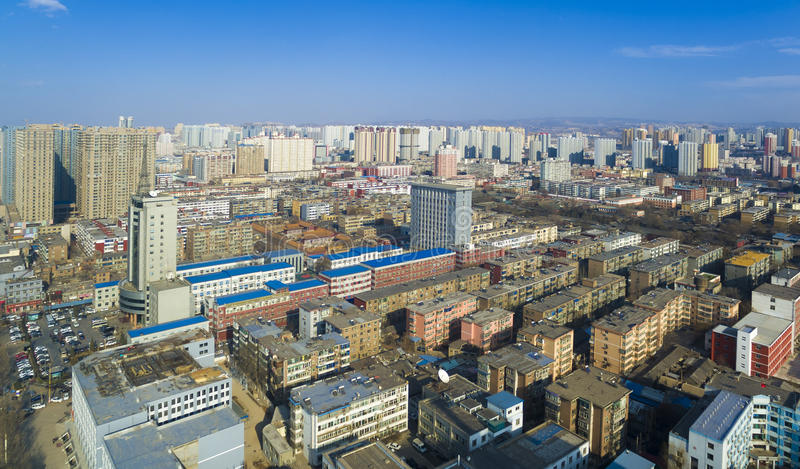 Het overzichtsshanxi China van Tai-Yuan stock afbeeldingen