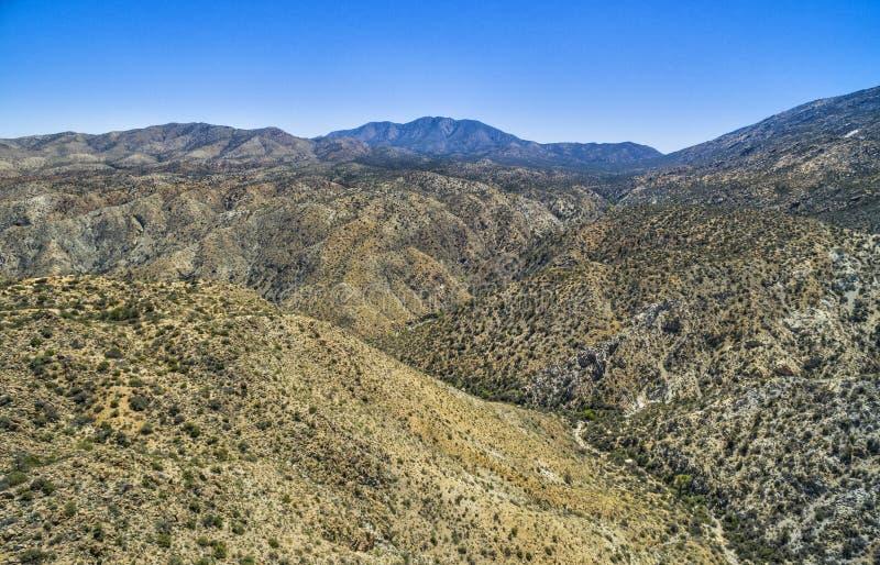 Het overzien van mening bij Santa Rosa en San Jacinto Mountains National Monument, Californië stock foto's