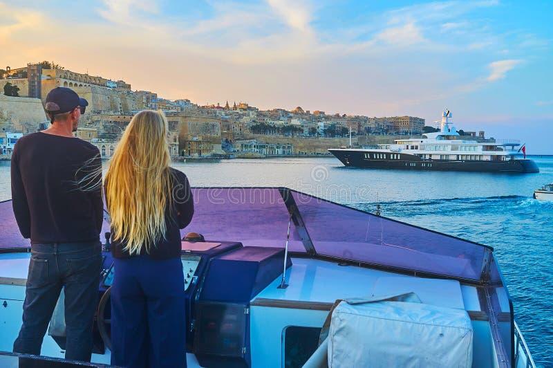 Het paar bij het roer, Valletta, Malta royalty-vrije stock foto's