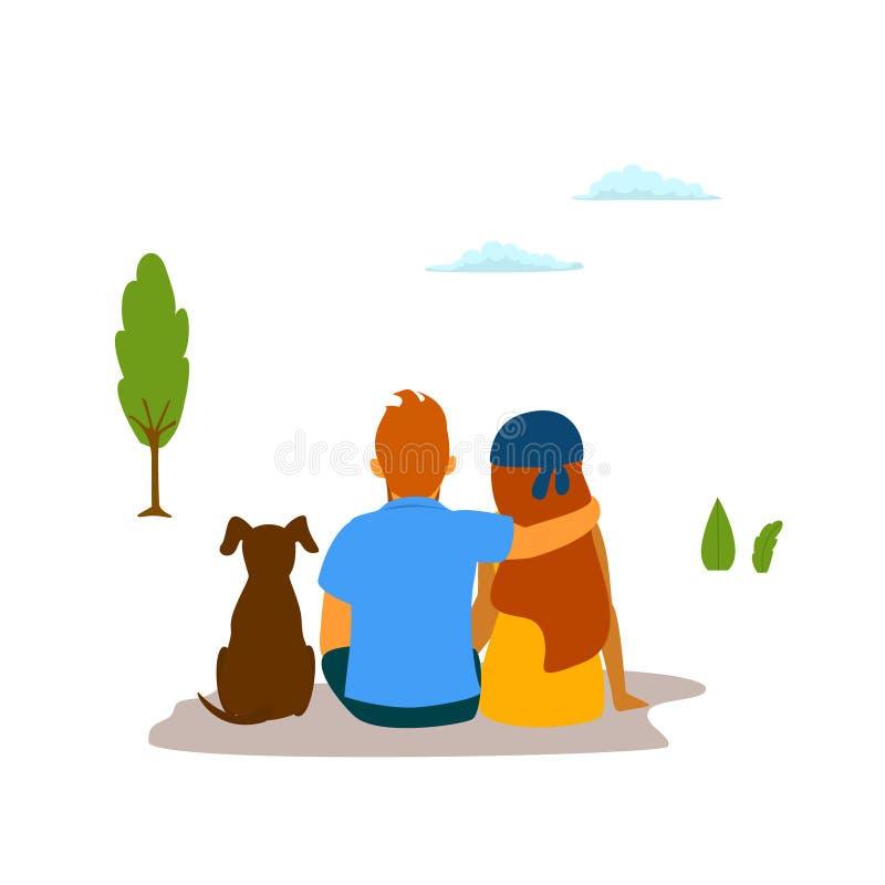 Het paar, de jonge man, de vrouw en hun hond zitten omhelzing genietend van aard vector illustratie