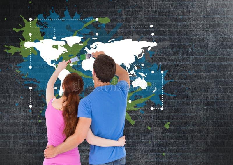 Het paar die een Kleurrijke Kaart met verf schilderen ploetert op muurachtergrond stock illustratie