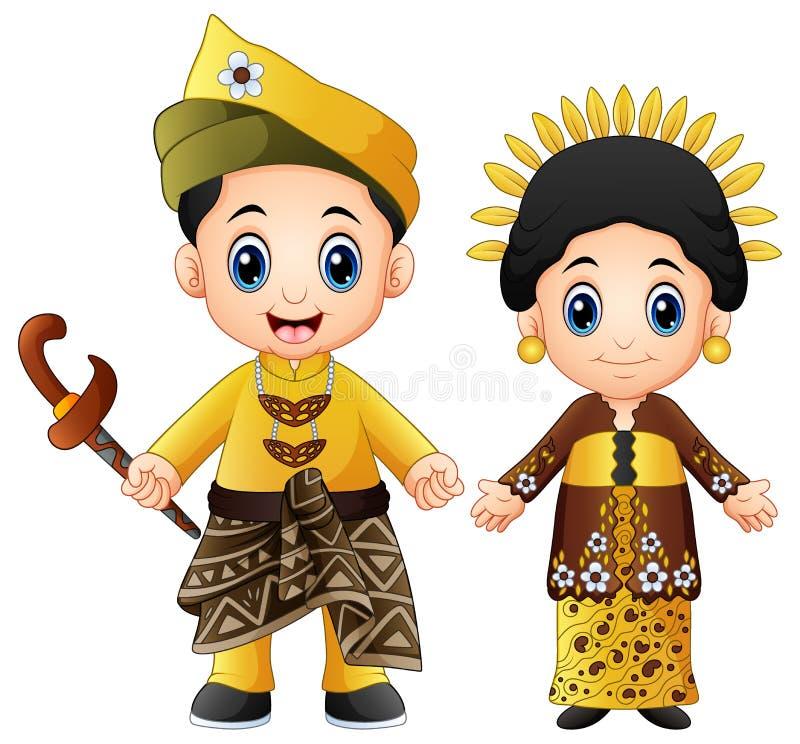 Het paar die van beeldverhaalmaleisië traditionele kostuums dragen stock illustratie