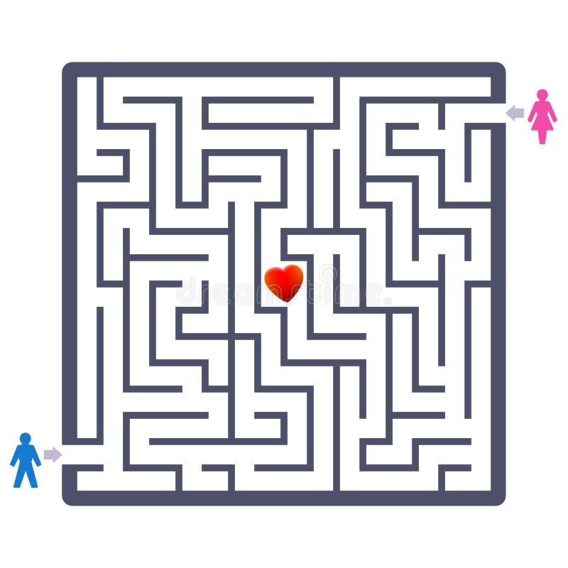Het Paar die van de labyrintliefde Partnerlabyrint vinden stock illustratie