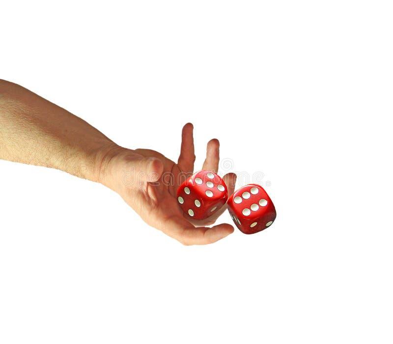 Het paar dobbelt ter beschikking zes vijf de raadsbackgammon van het gokkenspel royalty-vrije stock foto's