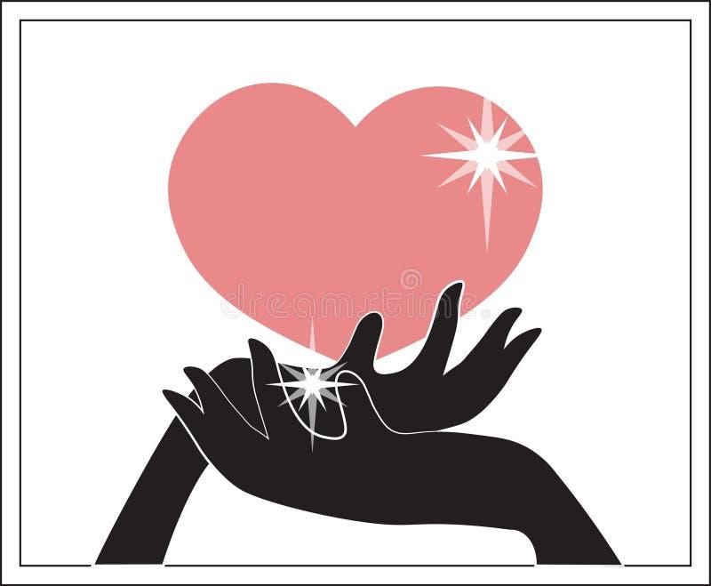 Het paar houdt hart royalty-vrije illustratie