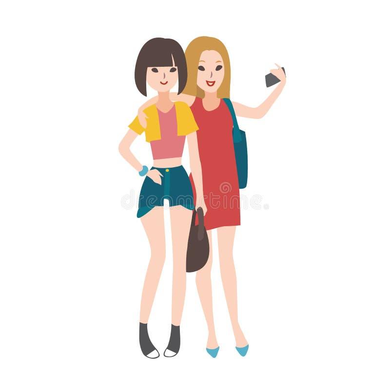 Het paar jonge vrouwen kleedde zich in modieuze kleding die, elkaar omhelzen, en selfie foto glimlachen nemen met bevinden zich vector illustratie