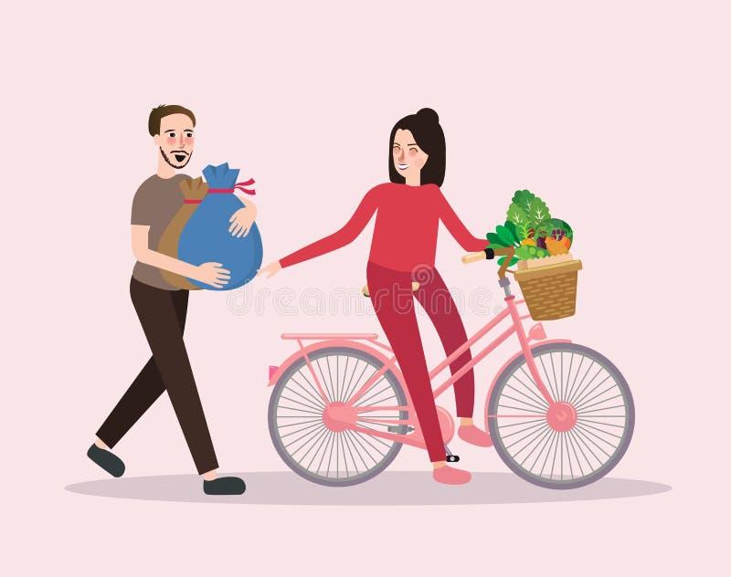 Het paar koopt plantaardige berijdende fiets gelukkig gezond winkelend mannetje en wijfje royalty-vrije illustratie