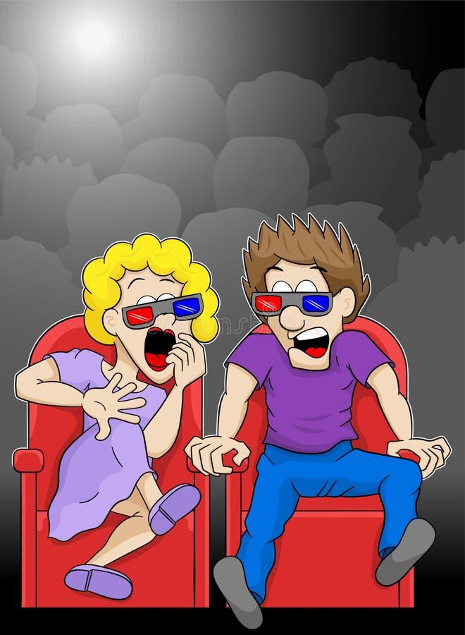 Het paar let op een film van de verschrikkings 3d film in een bioskoop vector illustratie