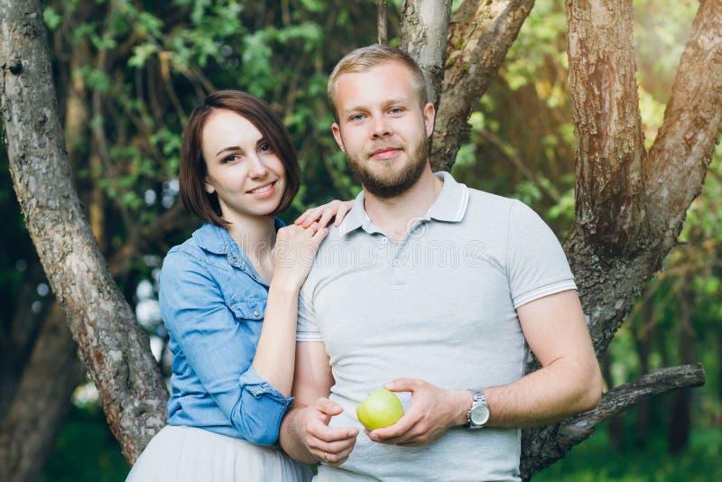 Het paar in liefde heeft een rust in de boomgaard van de zomerapple royalty-vrije stock foto's