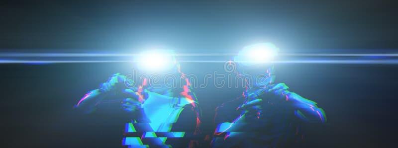 Het paar met virtuele werkelijkheidshoofdtelefoon speelt spel Beeld met glitch effect royalty-vrije stock foto
