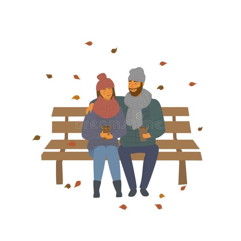 Het paar op een datum in de het parkzitting van de de herfstdaling op een bankscène isoleerde vectorillustratie royalty-vrije illustratie