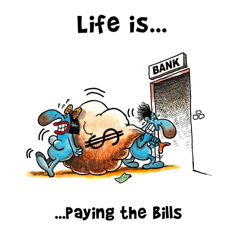 Het paar trekt een zak geld aan de bank royalty-vrije illustratie