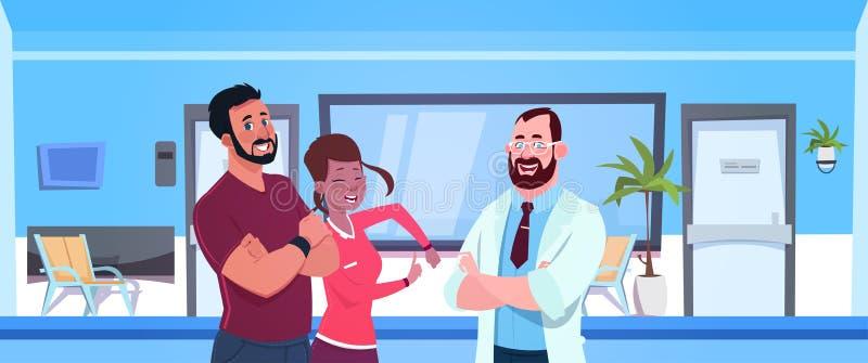 Het Paar van artsentalking with happy van Patiënten over het Ziekenhuiswachtkamer met Lege Zetelsachtergrond vector illustratie