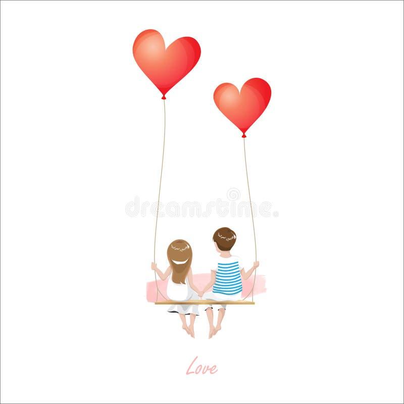 Het paar van de beeldverhaalminnaar zit op de rode schommeling van de hartballon, die op witte achtergrond, het Gelukkige concept royalty-vrije illustratie