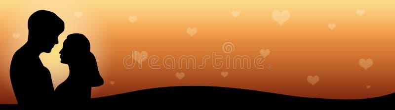 Het Paar van de Kopbal van het Web in liefde bij zonsondergang stock illustratie