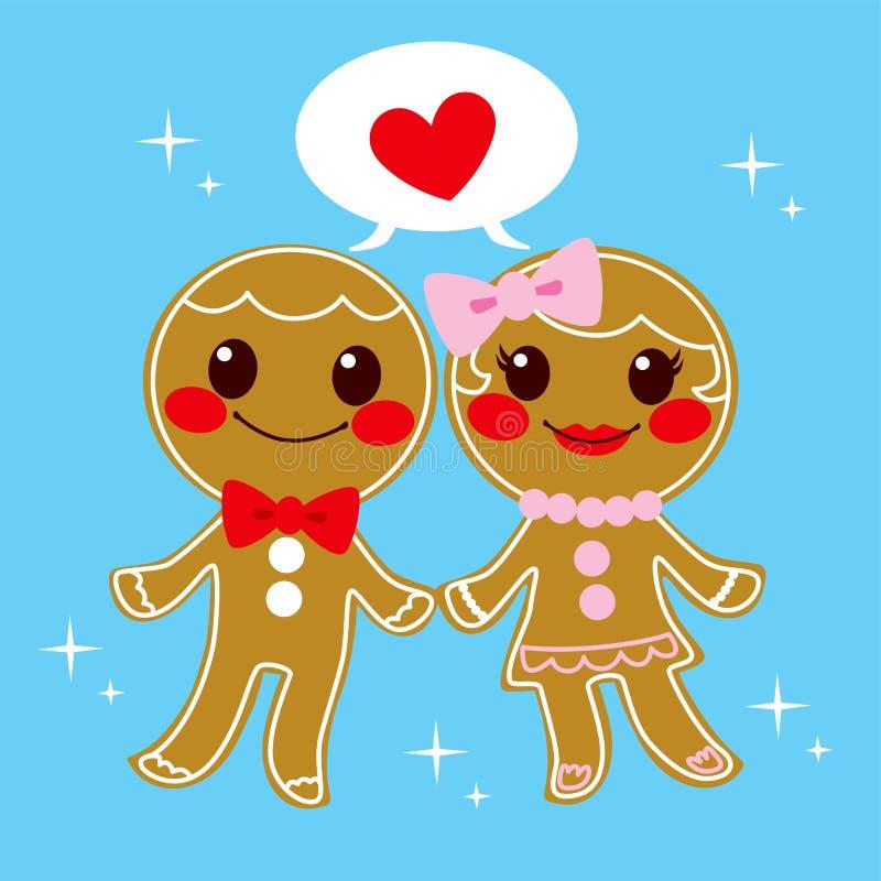 Het Paar van de peperkoek stock illustratie