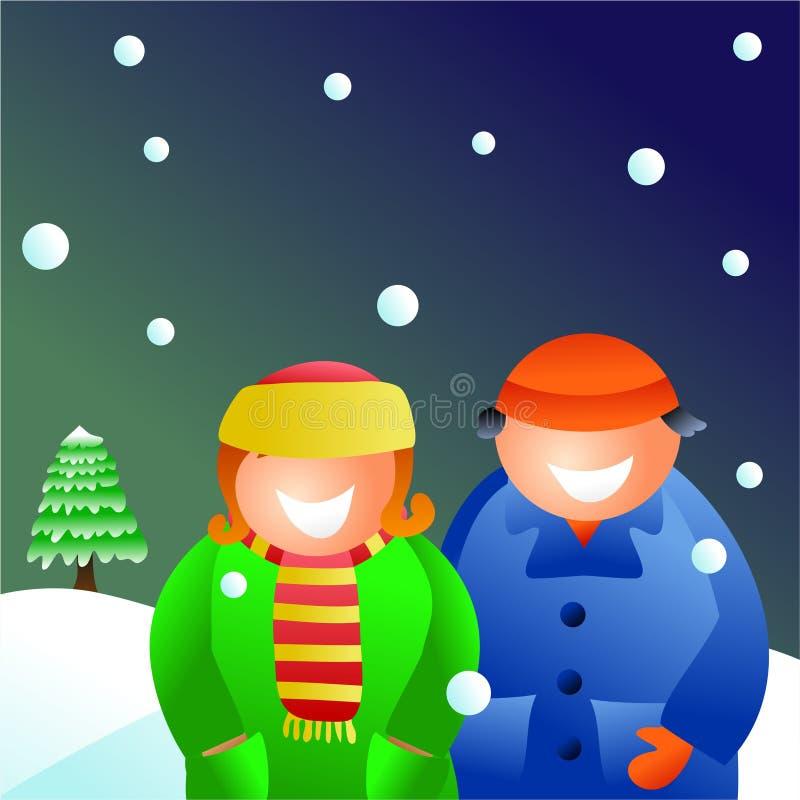 Het paar van de winter royalty-vrije illustratie