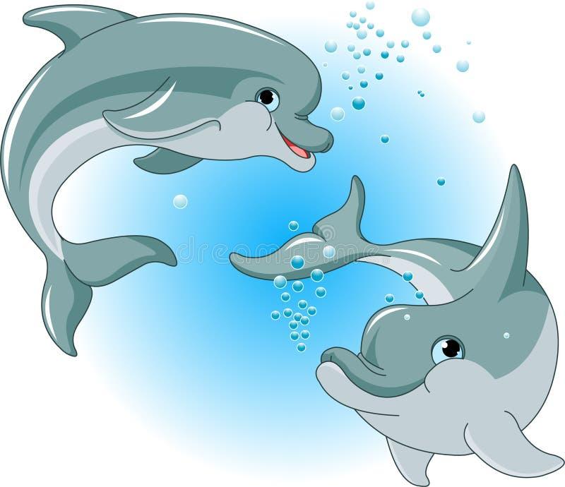 Het paar van dolfijnen stock illustratie
