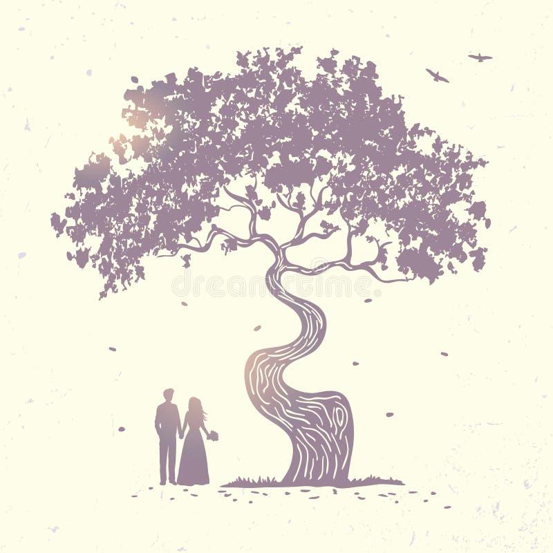 Het paar van het boomsilhouet stock illustratie