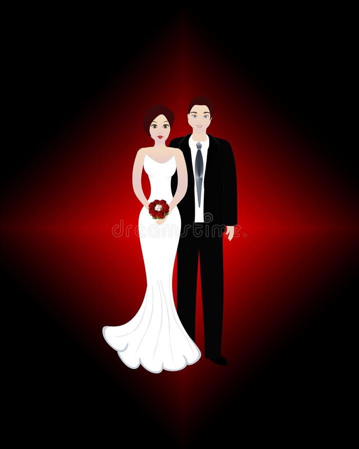 Het paar van het huwelijk - bruid en bruidegom royalty-vrije illustratie