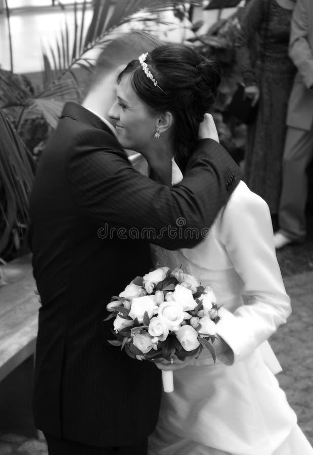 Het paar van het huwelijk het koesteren royalty-vrije stock fotografie