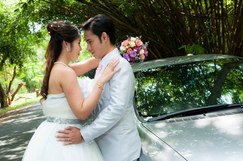 Het paar van het huwelijk in het park in Thailand stock afbeeldingen
