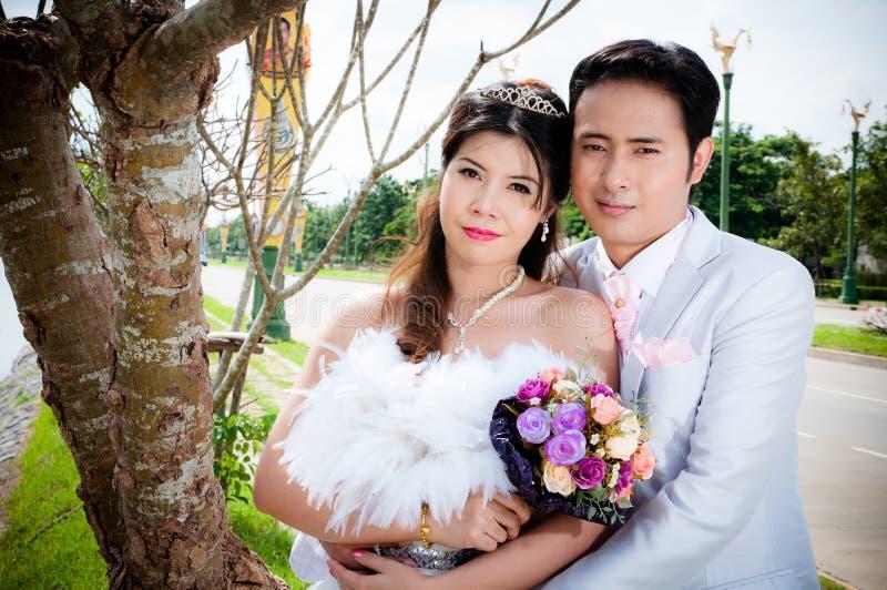 Het paar van het huwelijk in het park in Thailand stock fotografie