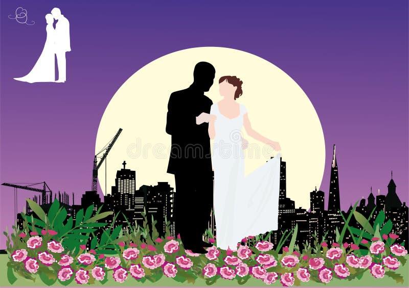 Het paar van het huwelijk in nachtstad royalty-vrije illustratie