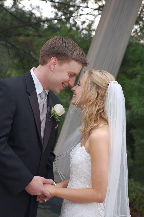 Het Paar van het huwelijk in Park stock foto