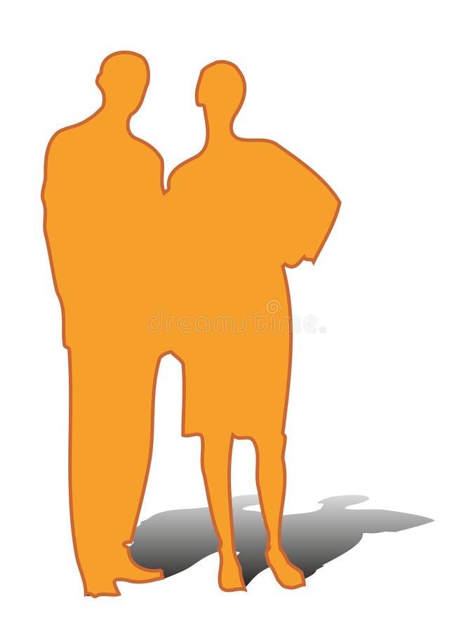 Het paar van het silhouet royalty-vrije illustratie